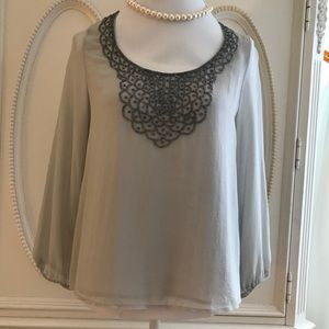 Joie Beaded Embellished Silk Top Sz XS